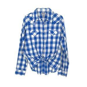 Wrangler Wrancher Snap Shirt in Blue Check